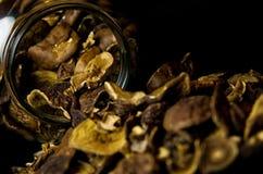 Getrocknete Pilze im Glas Lizenzfreie Stockbilder