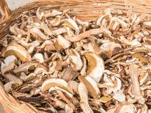 Getrocknete porcini Pilze in der Weidenschüssel stockfotografie
