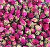 Getrocknete rosafarbene Köpfchen für Tee, selektiver Fokus Stockbilder