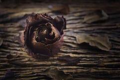 Getrocknete Rose auf altem hölzernem Brett, Konzept des defekten Herzens Lizenzfreie Stockbilder