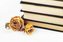 Getrocknete Rosen und alte Bücher auf getrenntem backgroun Stockfotos