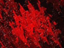 Getrocknete Rotölfarbe auf einem schwarzen Hintergrund Abstrakte Flecke, die Blut-, Ketschup- oder Himbeerstau ähneln Lizenzfreie Stockfotos