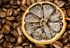 Getrocknete Zitrone und Kaffeebohnen Stockfotografie