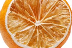Getrocknete Zitronen lokalisiert auf Weiß Lizenzfreie Stockfotos