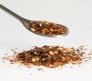 Getrockneter Chili Pepper auf Esslöffel lizenzfreie stockfotos