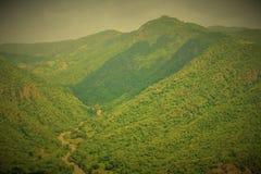 Getrockneter Flussweg zwischen dem schönen Bergblick Stockfotografie