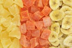 Getrockneter Hintergrund der tropischen Früchte Lizenzfreie Stockbilder