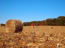 Getrockneter Rundballen auf dem Mais-Gebiet Lizenzfreies Stockbild