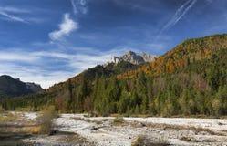Getrocknetes Flussbett während des Herbstes in Österreich Stockfotos
