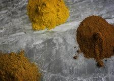 Getrocknetes gemischtes organisches Gewürz pulverisiert auf einem Marmorküche worktop Hintergrund, der von oben fotografiert wird lizenzfreie stockbilder