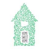 Getrokken affiche van het huis de zoete huis hand Vector uitstekende illustratie Stock Afbeelding