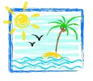Getrokken beeld van de zomer vector illustratie