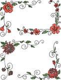 Getrokken bloemhoeken Stock Afbeelding