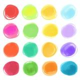 Getrokken de cirkeltexturen van de Watercolourteller Modieuze elementen voor ontwerp Vector Cirkels Stock Afbeeldingen