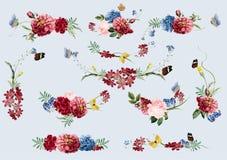 Getrokken de hand bloeit kleurrijk bloemenpatroon royalty-vrije illustratie