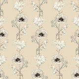 Getrokken de hand bloeit naadloos patroon Royalty-vrije Stock Foto