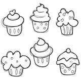 Getrokken de hand cupcake plaatste Royalty-vrije Stock Afbeeldingen