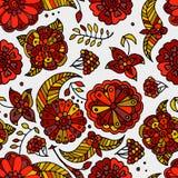 Getrokken de hand kleurde bloemen naadloos patroon Stock Illustratie