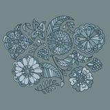 Getrokken de hand kleurde bloemenpatroon Vector Illustratie