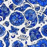 Getrokken de hand kleurde het bloemen naadloze patroon van Gzhel Stock Illustratie