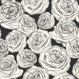 Getrokken de hand nam bloemachtergrond toe Royalty-vrije Stock Afbeeldingen