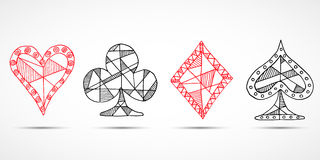 Getrokken de hand schetste Speelkaarten, pook, blackjacksymbool, achtergrond, de diamantenspades van krabbelharten en clubssymbol vector illustratie
