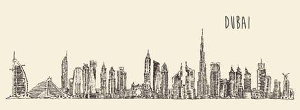 Getrokken de Hand van de de Stadshorizon van Doubai, Gegraveerde Vector stock illustratie