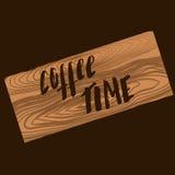 Getrokken de hand van de koffietijd Stock Afbeeldingen