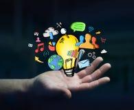 Getrokken de hand van de zakenmanholding lightbulb en de pictogrammen van verschillende media Stock Afbeelding