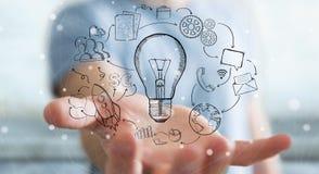 Getrokken de hand van de zakenmanholding lightbulb en de pictogrammen van verschillende media Stock Afbeeldingen