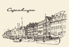 Getrokken de illustratiehand van Kopenhagen Denemarken Stock Fotografie