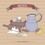 Getrokken de kleurenschets van het huisbaksel hand met melkkaraf, deegrol, bloem, eieren, boter en citroen vector illustratie
