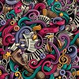 Getrokken de Muziek naadloos patroon van beeldverhaal leuk krabbels hand kleurrijk Stock Afbeelding