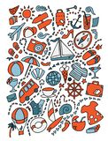 Getrokken de Reisillustratie van beeldverhaal leuke krabbels hand Veel objecten achtergrond vector illustratie