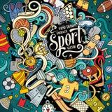 Getrokken de Sportillustratie van beeldverhaal leuke krabbels hand stock illustratie