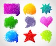 Getrokken de toespraakbellen van de kleur hand Stock Foto's