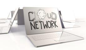 Getrokken de WOLKENnetwerk van het ontwerpwoord hand en 3d laptop computer Royalty-vrije Stock Afbeelding