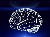 Getrokken die hersenen over de menselijke hand worden gehangen Royalty-vrije Stock Afbeelding