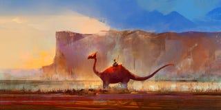 Getrokken dinosaurus op een achtergrond van bergen Stock Afbeelding