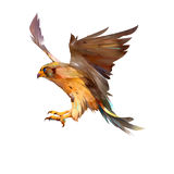 Getrokken geïsoleerde vliegende Valkvogel stock illustratie