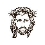 Getrokken gezicht van de hand van Jesus stock illustratie
