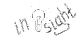 Getrokken gloeilamp die de totstandkoming van ideeën symboliseren, inzicht vector illustratie