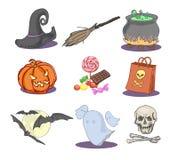 Getrokken Halloween-pictogrammen Royalty-vrije Stock Fotografie