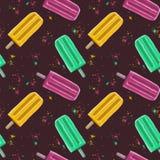 Getrokken hand de illustratie naadloze patroon herhaalde zomer popsicl Royalty-vrije Stock Fotografie
