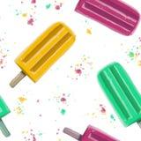 Getrokken hand de illustratie naadloze patroon herhaalde zomer popsicl Royalty-vrije Stock Foto's