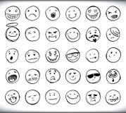Getrokken hand emoticons Royalty-vrije Stock Foto's