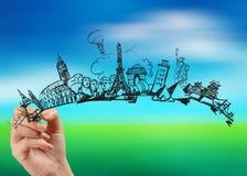 getrokken hand het reizen rond de wereld royalty-vrije stock afbeelding