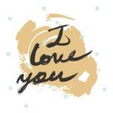 Getrokken hand het van letters voorzien van met woorden I liefde u Gemaakt met vloeibare inkt en borstel, in stijl uit de vrije h Royalty-vrije Stock Afbeeldingen