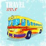 Getrokken hand, kleur penÑ  IL grappige gele bus Vector illustratie Stock Illustratie