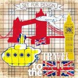 Getrokken hand, kleurenpenñ  IL gele Onderzeeër, reis aan het Verenigd Koninkrijk Stock Foto's